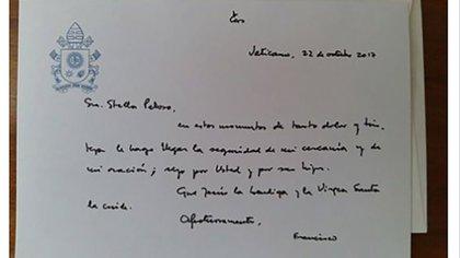 La carta que el papa Francisco le envió a la familia Maldonado