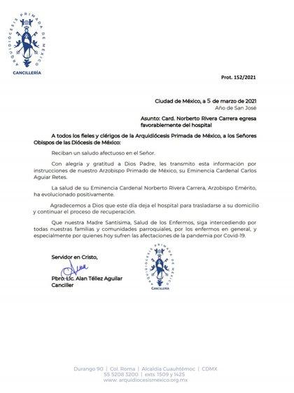 Comunicado sobre la salud del cardenal Norberto Rivera (Foto: TwitterArquidiocesisMx)
