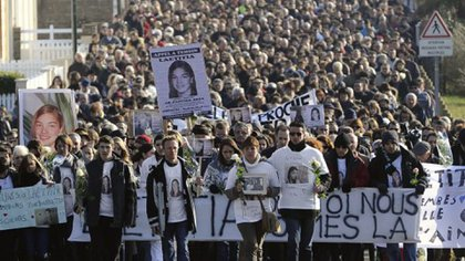 Marcha en homenaje a Laëtitia Perrais. AFP -SEBASTIEN EVRARD