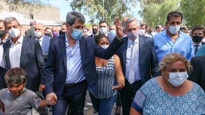 Sergio Uñac y Alberto Fernández recorrieron las zonas más afectadas por el terremoto