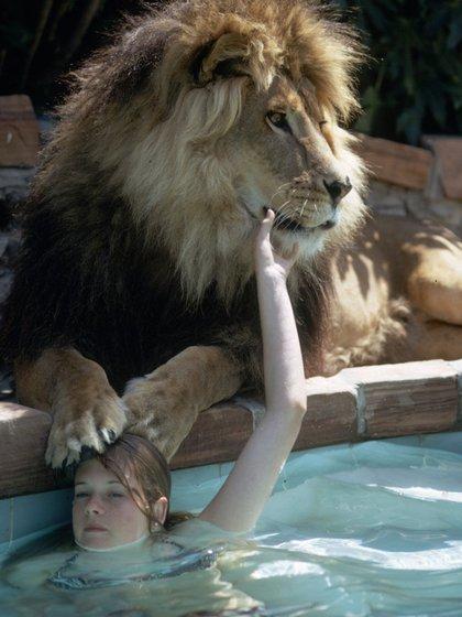 Melanie en la piscina de su casa posa despreocupada con Neil