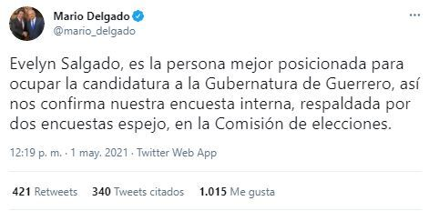 Tuit Mario Delgado Evelyn Salgado