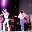 hutterstock Queen - Freddie Mercury, John Deacon and Brian May Live Aid Concert at Wembley London, Britain - 1985