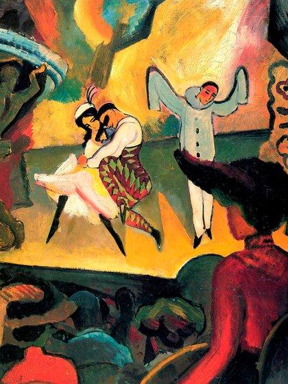 """""""Ballet Ruso I"""" (1912), de August Macke. Oleo sobre lienzo (103.0 x 81.0 cm), en la Galería de arte de Bremen"""
