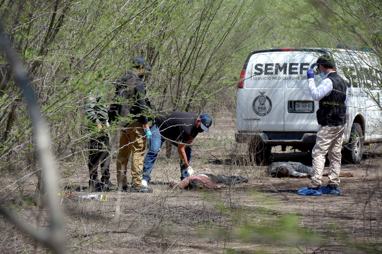 Forenses resguardan el área donde fueron localizados hoy los cuerpos de dos personas ejecutadas en Culiacán, estado de Sinaloa (México). EFE/Juan Carlos Cruz