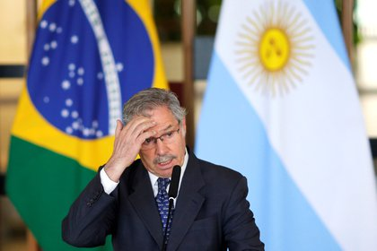 Argentina's Foreign Minister Felipe Sola speaks during a news conference after a meeting with Brazil's Foreign Minister Ernesto Araujo (not pictured) at the Itamaraty Palace in Brasilia, Brazil, February 12, 2020. REUTERS/Adriano Machado