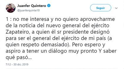 Los tuits de Juanfer Quintero sobre su la desaparición de su padre