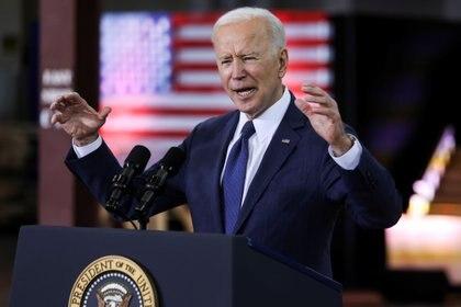 Joe Biden presentó su plan de infraestructura, durante un acto en Pittsburgh (REUTERS/Jonathan Ernst)