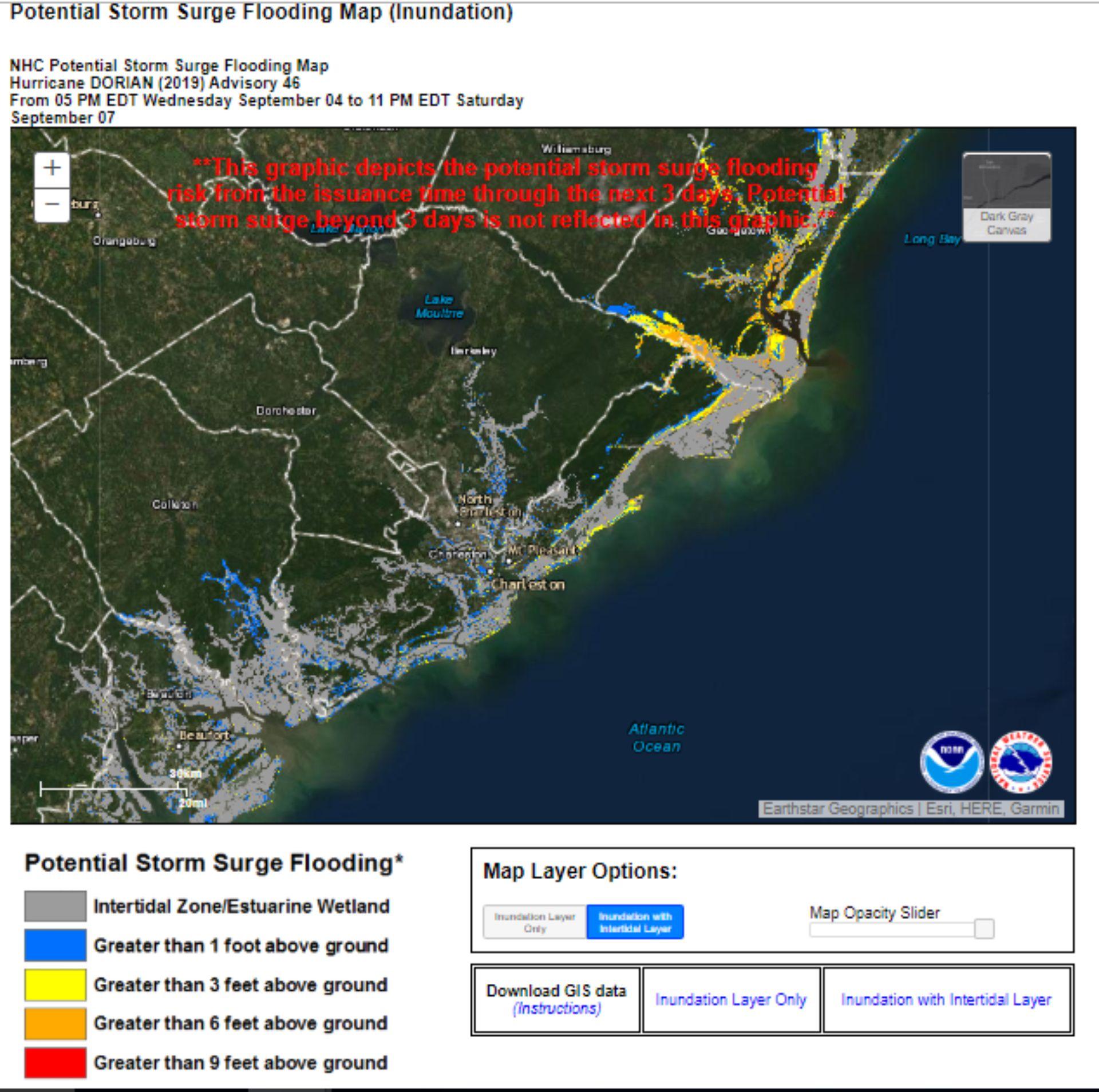 Los pronósticos con las potenciales zonas de inundación en la costa sudeste de los Estados Unidos para los próximos tres días (Foto: NHC)