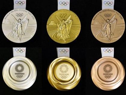 Así lucen las medallas de los Juegos Olímpicos de Tokio 2020 (credit Kyodo/via REUTERS)