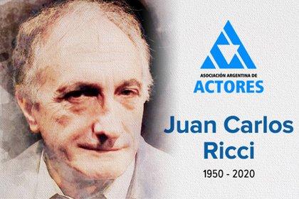 La imagen de Juan Carlos Ricci en el comunicado de la Asociación Argentina de Actores