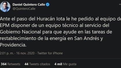 El Alcalde de Medellín ofreció al equipo de la EPM para restablecer la luz en el archipiélago.