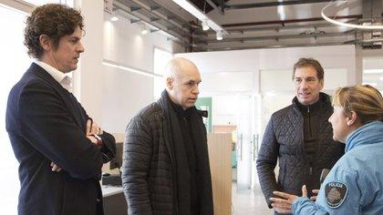 Martín Lousteau junto a Horacio Rodríguez Larreta y Diego Santilli