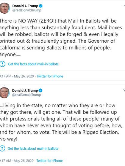 Los dos posteos que Twitter marcó como que carecen de fundamento.