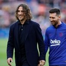 Soccer Football - La Liga Santander - FC Barcelona v Deportivo Alaves - Camp Nou, Barcelona, Spain - December 21, 2019 Barcelona's Lionel Messi with Carles Puyol during the warm up before the match REUTERS/Albert Gea