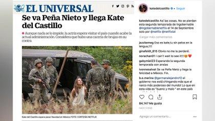 Kate del Castillo fue entrevistada por el diario El Universal para anunciar su regreso a México