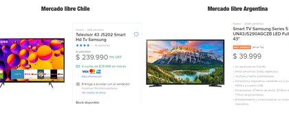 No todos los precios son másbaratos, el mismo modelo de televisor es más económico en la tienda argentina que en la chilena