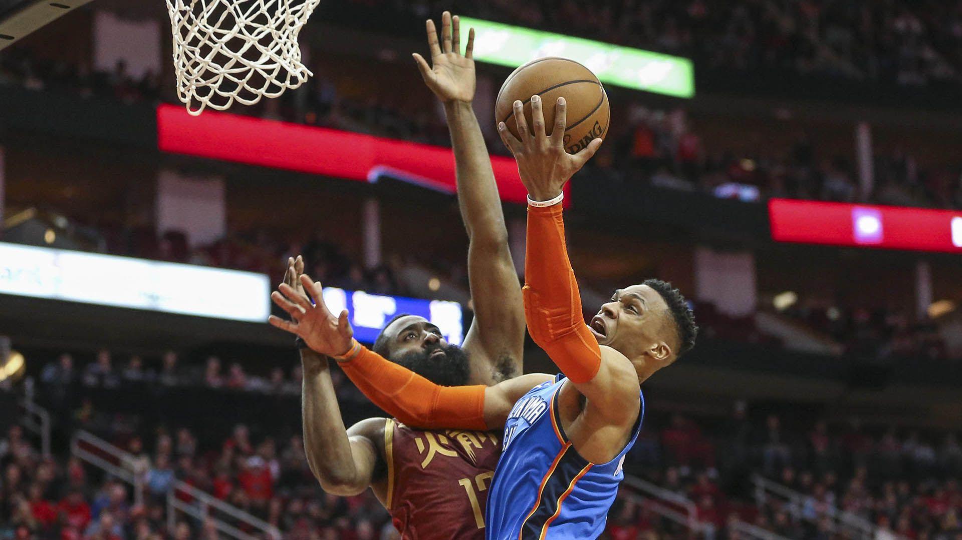 Westbrook y Harden fueron compañeros durante tres temporadas en Oklahoma City Thunder y ahora volverá a juntarse en los Rockets (USA TODAY Sports)