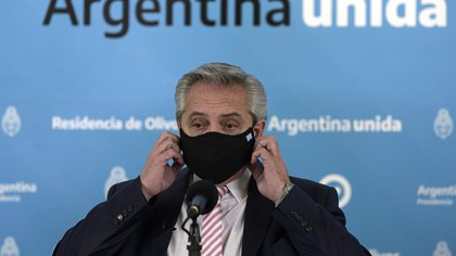 Argentina's President Alberto Fernandez gestures during the announcement that Argentina and Mexico will produce and distribute an experimental coronavirus vaccine, at the Olivos Presidential residence, in Buenos Aires, Argentina August 12, 2020. Juan Mabromata/Pool via REUTERS