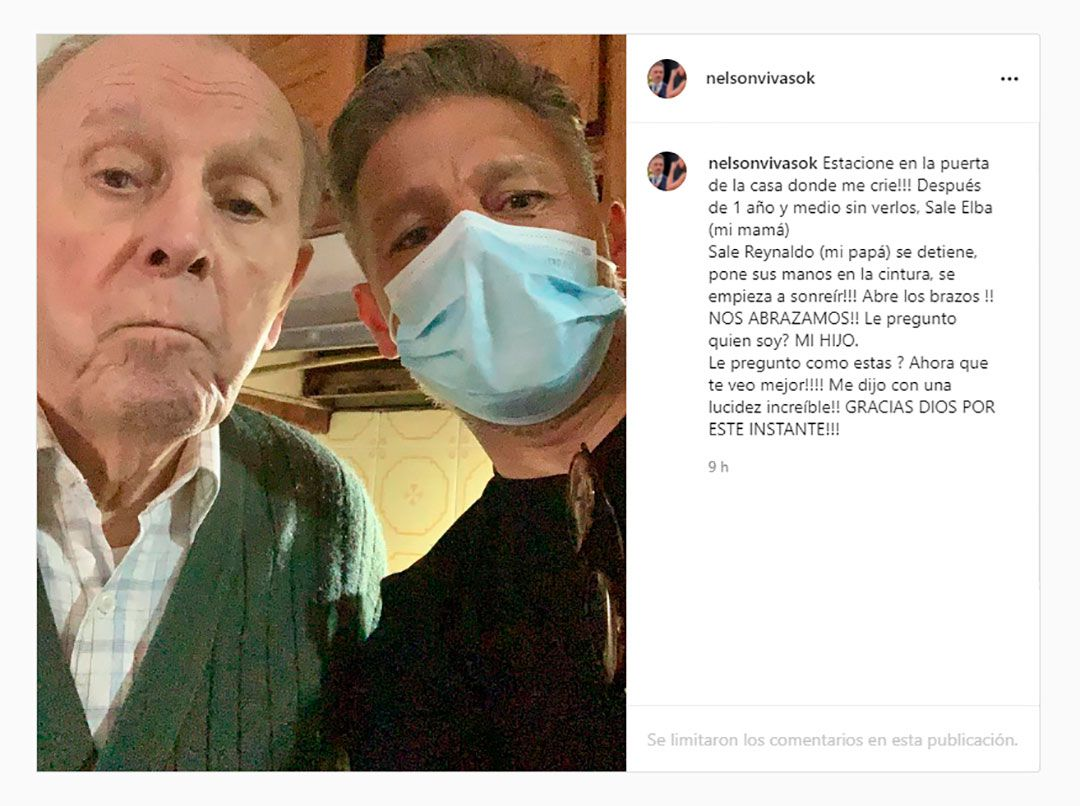 publicación de Nelson Vivas con su papá