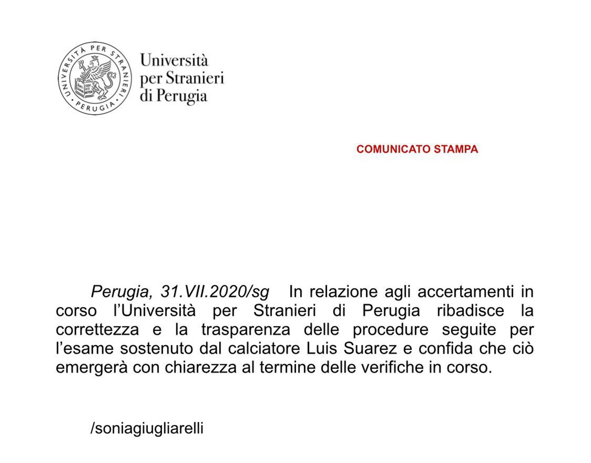 Comunicado de la Universidad de Perugia sobre el caso de supuesto fraude del exámen de Luis Suárez