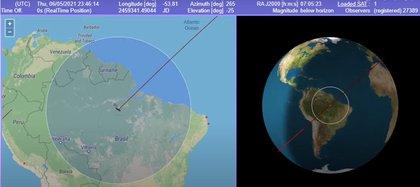 El cohete Long March-5B Y2 fuera de control (YouTube)