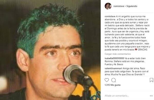 Cuando nació su hijo, Romina le había pedido un milagro a su primo, Rodrigo Bueno (Foto: Instagram)