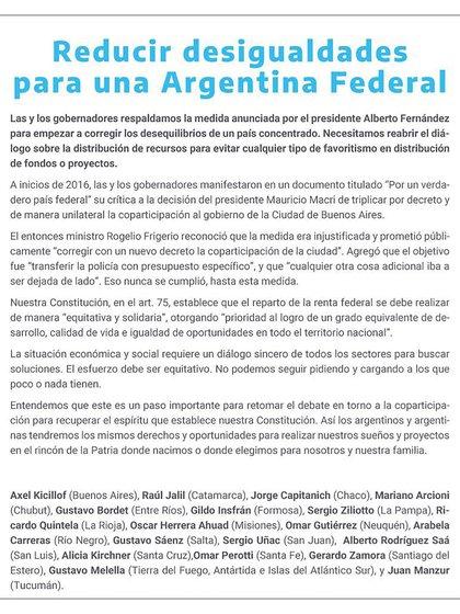El comunicado de los gobernadores que respaldaron la decisión del Presidente