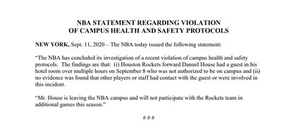El comunicado de la NBA que anuncia la expulsión de Orlando de Danuel House