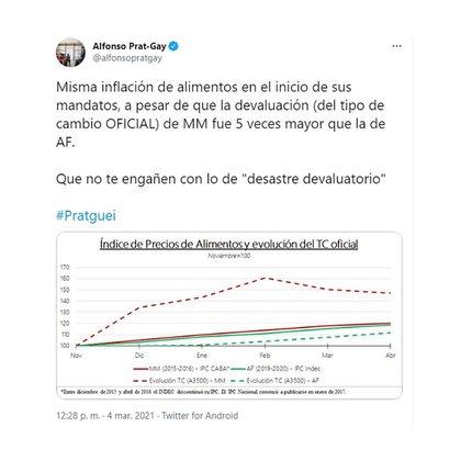 Prat Gay le respondió por Twitter a Cristina Kirchner.