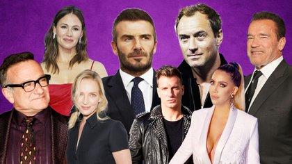 Jude Law, Uma Thurman, Arnold Schwarzenegger, David Beckam, Robin Williams, Jennifer Garner, Maxi Lopez y Wanda Nara
