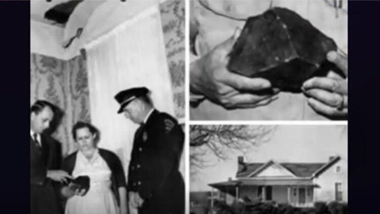 Hodges fue golpeada por el meteorito mientras estaba en su sofá el 30 de noviembre de 1954 (Universidad de Alabama)