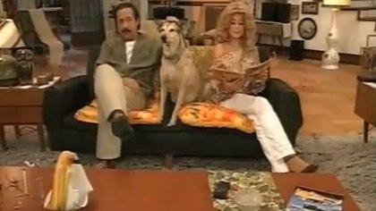 Una clásica imagen de los Argento con su perro, Fatiga