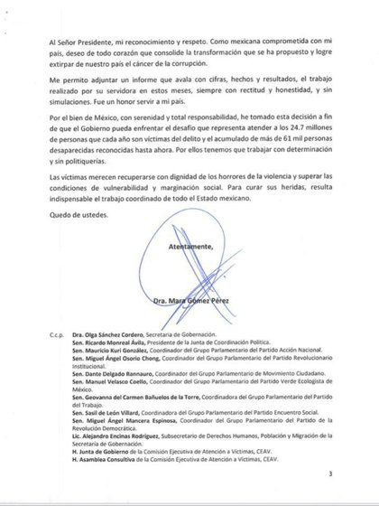 Tercera parte de la carta de renuncia  en la que hace distintos señalamientos (Foto: Cortesía)