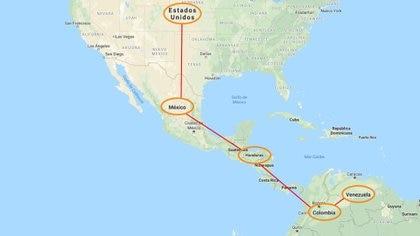 La ruta de que sigue la droga traficada entre los dos cárteles (Imagen: Infobae/ Google Maps)