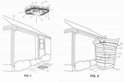 El dron desplegaría el tubo con forma de acordeón dentro del cual se deslizarían los paquetes hasta el punto de entrega