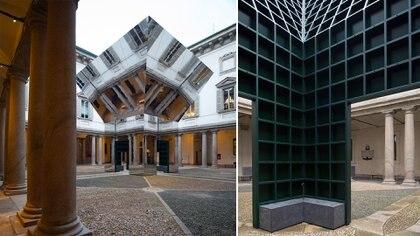 El pabellón está situado en el centro del patio del palacio. Se alinea exactamente con las ventanas, columnas y otros detalles del edificio, pero también con los patrones de pavimentación en el suelo debajo. (Crédito: Prensa Pezo von Ellrichshausen)