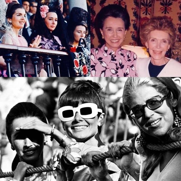 Amistades de la talla de Jackie Kennedy, Nancy Reagan y Audrey Hepburn la volvían una figura infaltable de las reuniones más fastuosas del jet set mundial, donde solía recopilar invaluable información