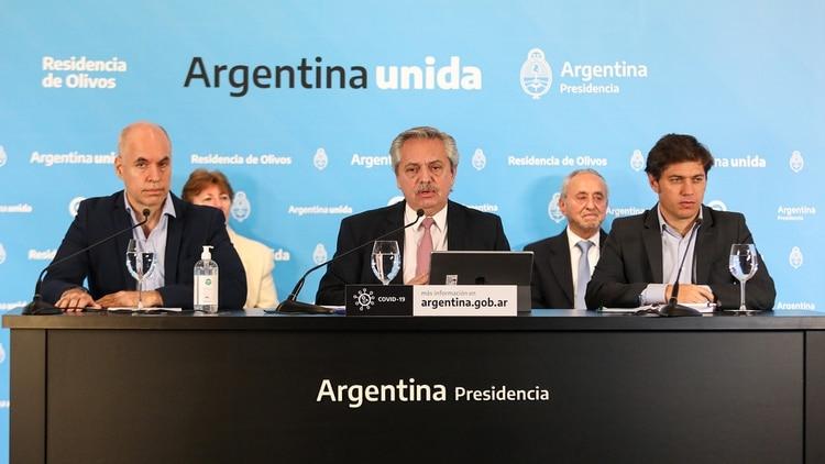 Alberto Fernández, Axel Kicillof y Horacio Rodríguez Larreta (Casa Rosada)
