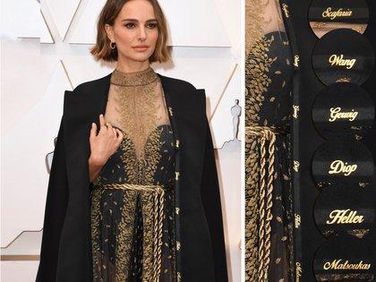"""La actriz Natalie Portman lució una capa de la casa Dior en la alfombra roja con los nombres de las mujeres que fueron pasadas por alto este año en la categoría de dirección, incluidas Greta Gerwig (""""Pequeñas mujeres""""), Lorene Scafaria (""""Hustlers"""") y Lulu Wang (""""The Farewell"""")"""
