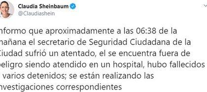 La jefa de gobierno de la CDMX, Claudia Sheinbaum informó sobre el atentado que sufrió Omar García Harfuch (Foto: Twitter/Claudiashein)