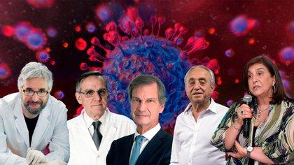 Algunas de las voces médicas y científicas de la pandemia: Fernando Polack, Pedro Cahn, Conrado Estol, Eduardo López y Ángela Gentile