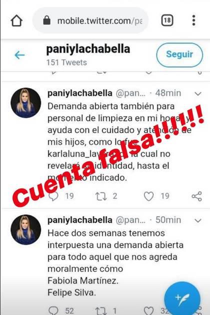 Karla Panini aclaró que esa cuenta de Twitter es falsa