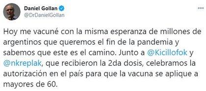 El mensaje de Gollán tras recibir la vacuna (Twitter)