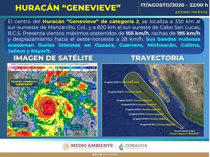 Las bandas nubosas generadas por el huracán provocarán lluvias intensas en otros estados de la República (Foto: Conagua)