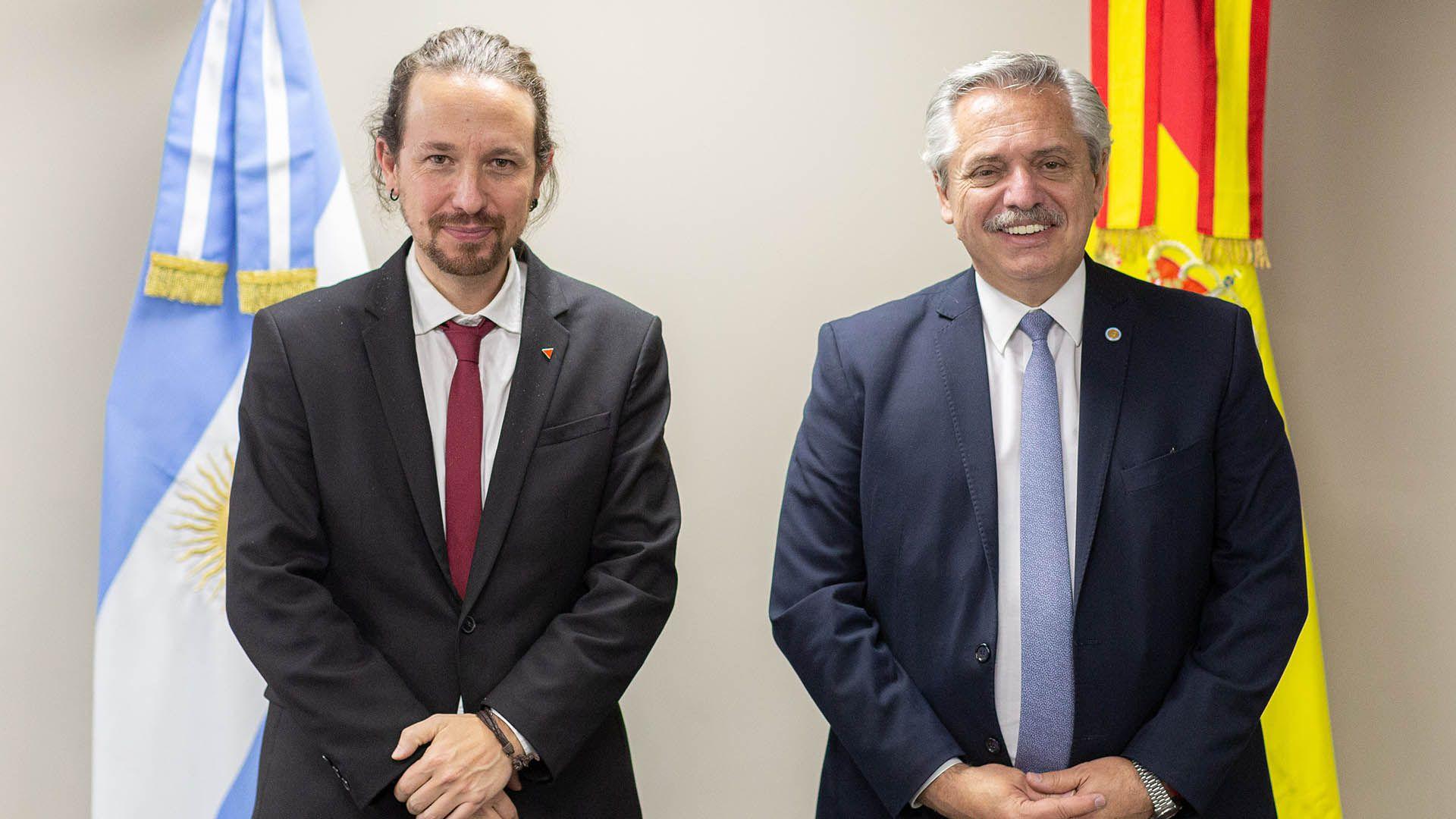 Alberto Fernandez en Bolivia con Pablo Iglesias