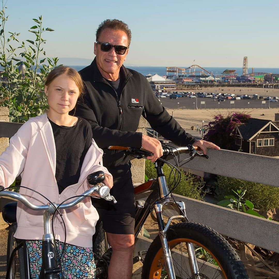 Arnold Schwarzenegger junto a Greta thunberg
