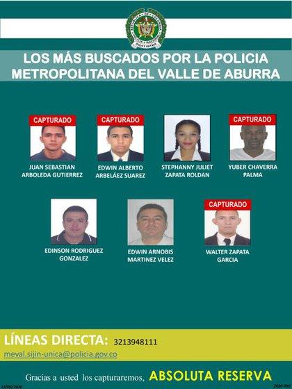Imagen difundida por la Policía de Medellín