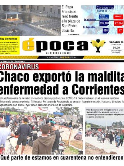 """La portada del diario correntino """"Época"""""""