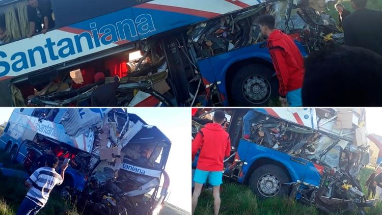 Imágenes del tremendo choque entre un micro de larga distancia y un camión en la Ruta Nacional 14